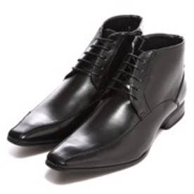 エムエムワン MM/ONE スワールモカシンレースアップビジネスブーツ (ブラック)