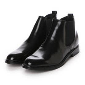 エムエムワン MM/ONE (シークレットインソール仕様)ロングレッグプレーントゥサイドゴアビジネスブーツ (ブラック)