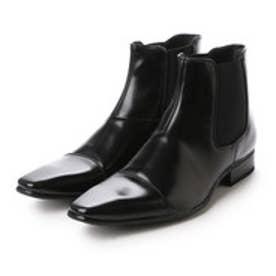 エムエムワン MM/ONE サイドゴアストレートチップビジネスブーツ (ブラック)
