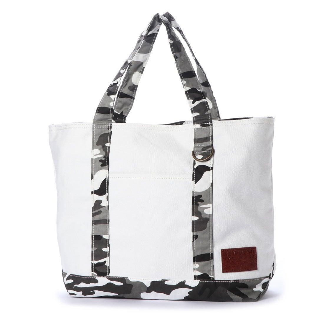 【SALE 5%OFF】スタイルブロック STYLEBLOCK キャンバスカモフラ切り替えトートバッグ (ホワイト×グレーカモ) レディース