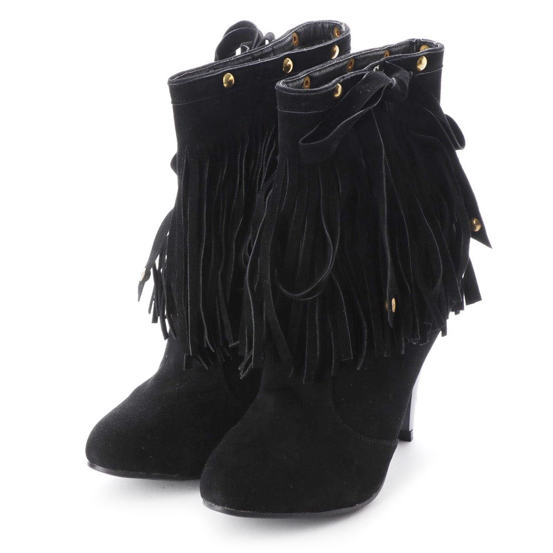 ロコンド 靴とファッションの通販サイトスタイルブロック STYLEBLOCK ウエスタンフリンジショートブーツ (ブラック)