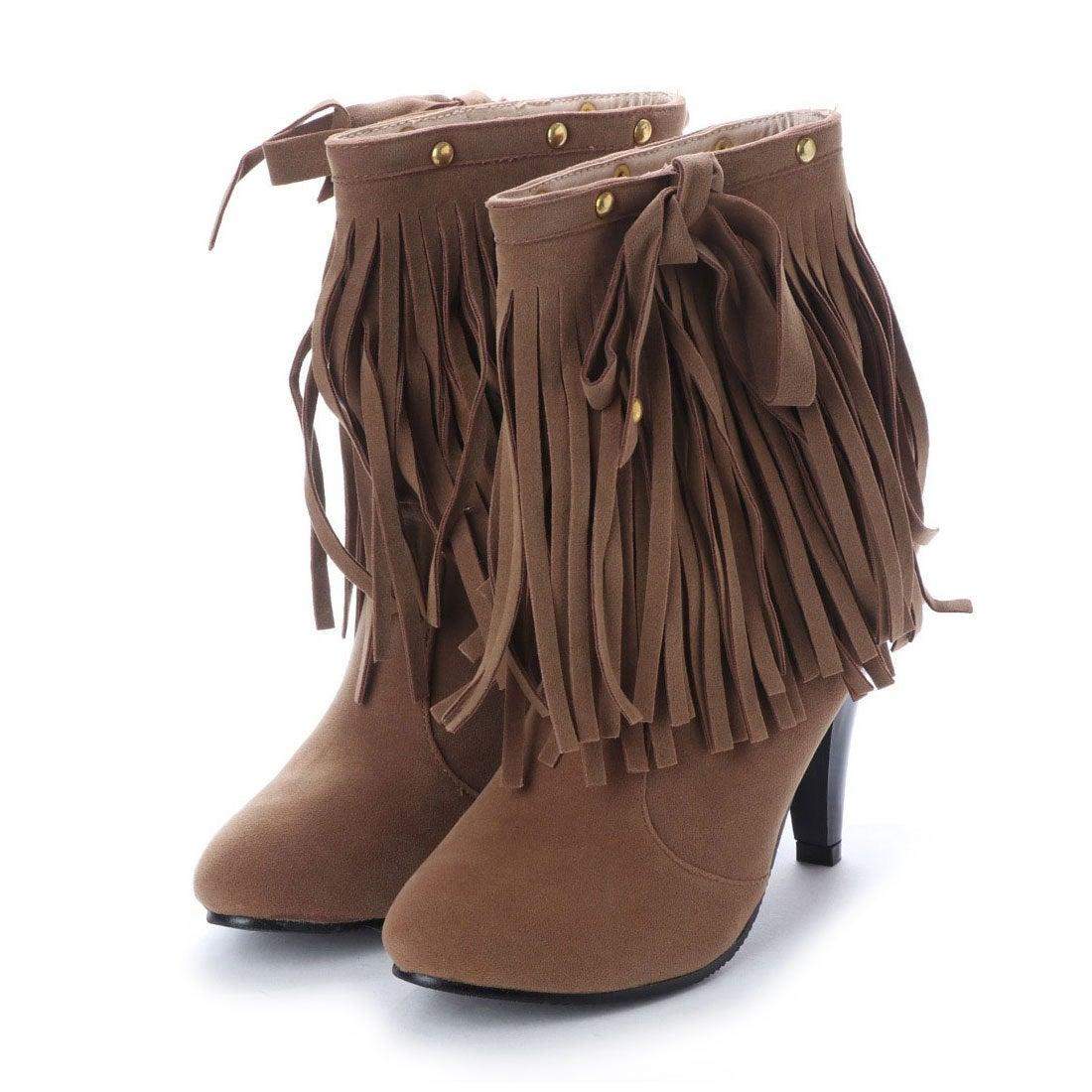 ロコンド 靴とファッションの通販サイトスタイルブロック STYLEBLOCK ウエスタンフリンジショートブーツ (ブラウン)