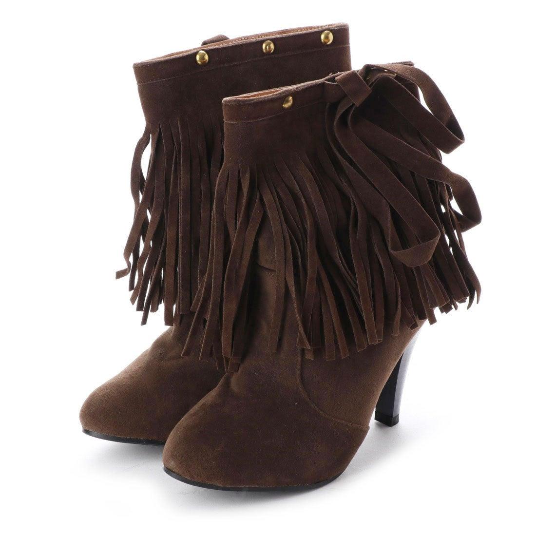 ロコンド 靴とファッションの通販サイトスタイルブロック STYLEBLOCK ウエスタンフリンジショートブーツ (ダークブラウン)