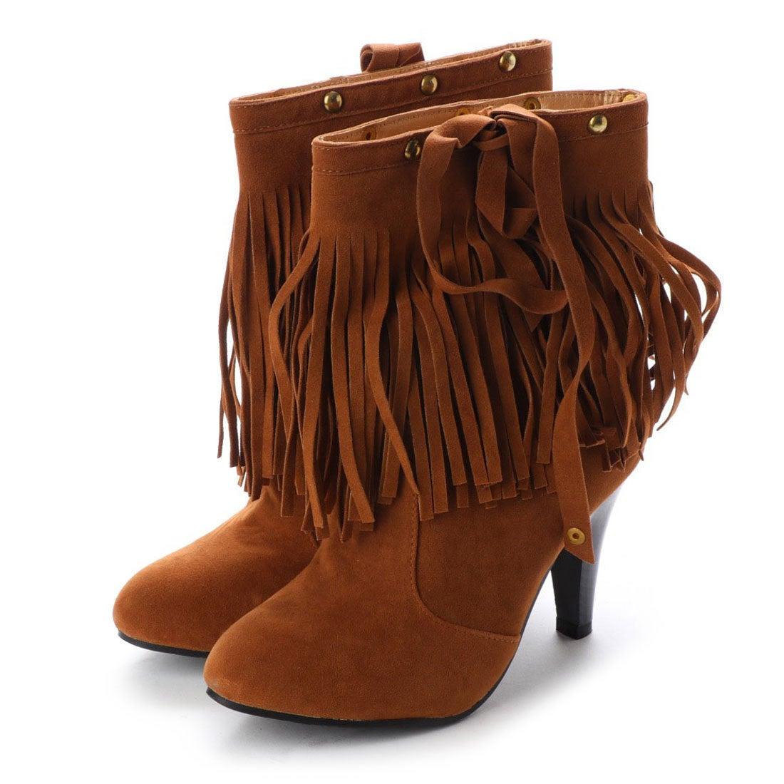 ロコンド 靴とファッションの通販サイトスタイルブロック STYLEBLOCK ウエスタンフリンジショートブーツ (キャメル)