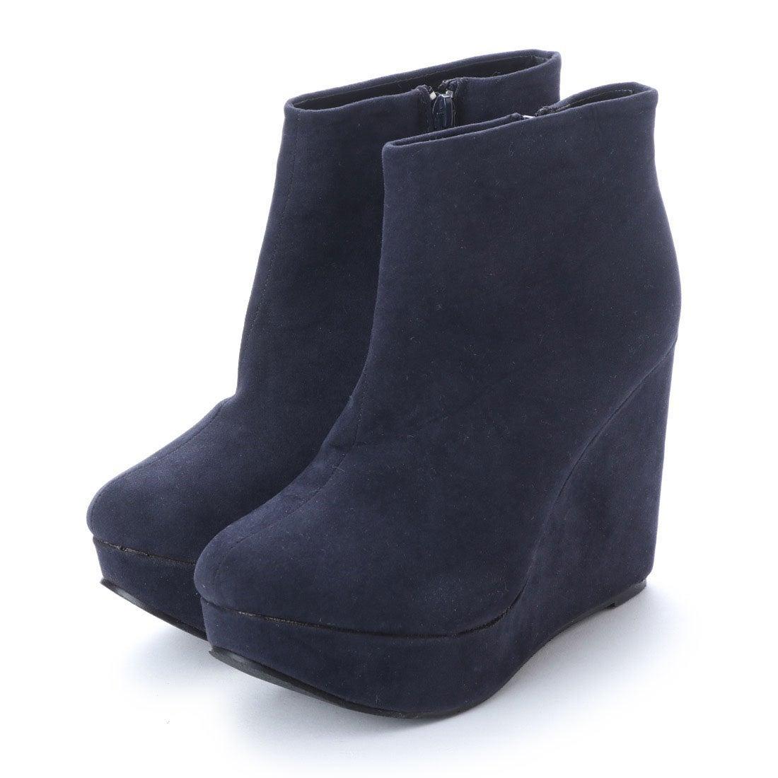 ロコンド 靴とファッションの通販サイトスタイルブロック STYLEBLOCK PUレザースウェードウエッジソールブーティー (ネイビースエード)