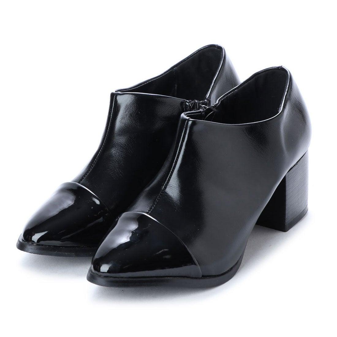 ロコンド 靴とファッションの通販サイトスタイルブロック STYLEBLOCK バイカラーチャンキーヒールブーティ (ブラック)