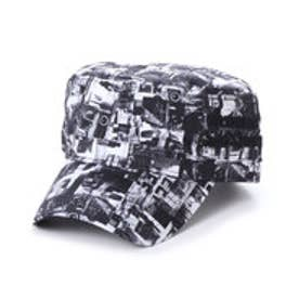 スタイルブロック STYLEBLOCK 総柄フォトプリント刺繍入りワークキャップ (ホワイト)