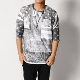 スタイルブロック STYLEBLOCK ペイズリー柄プリント7分袖Tシャツカットソー×タンクトップアンサンブル (ブラック)