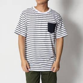 スタイルブロック STYLEBLOCK 消臭加工デオドラント0.5cmボーダーポケット付半袖Tシャツカットソー (ホワイト×ネイビー)