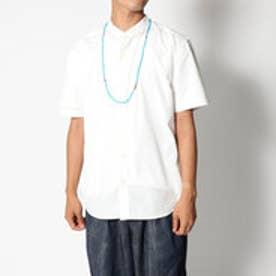 スタイルブロック STYLEBLOCK ネックレス付き半袖バンドカラーシャツ (ホワイト)