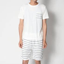 スタイルブロック STYLEBLOCK ボーダー柄ミニ裏毛スウェットイージーパンツショートパンツショーツハーフパンツ&半袖ポケットTシャツカットソー上下セットアップ (ホワイト)