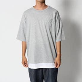 スタイルブロック STYLEBLOCK 裾フェイクレイヤードビッグシルエットドロップショルダー半袖Tシャツカットソー (グレー)