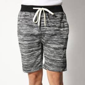 スタイルブロック STYLEBLOCK ミニ裏毛ウエストリブ膝上丈引き揃えカラー杢スウェットショートパンツショーツハーフパンツ (ブラック)