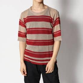 スタイルブロック STYLEBLOCK タンクトップ付きあま編みボーダーニットTシャツ (ベージュ)