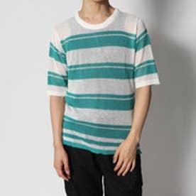 スタイルブロック STYLEBLOCK タンクトップ付きあま編みボーダーニットTシャツ (ホワイト)