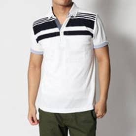 スタイルブロック STYLEBLOCK カノコパネルボーダー異素材切り替えスキッパー半袖ポロシャツ (ホワイト)