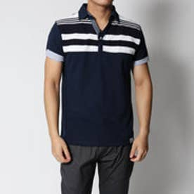 スタイルブロック STYLEBLOCK カノコパネルボーダー異素材切り替えスキッパー半袖ポロシャツ (ブルーグリーン)
