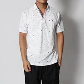 スタイルブロック STYLEBLOCK カノコ海洋動物ワッペン&プリントボーダーフェイクレイヤードスキッパー半袖ポロシャツ (ホワイト)