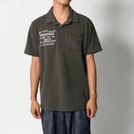 スタイルブロック STYLEBLOCK カノコミリタリープリント&ジップ迷彩カモフラ切り替えポケット付き半袖ポロシャツ (カーキ)
