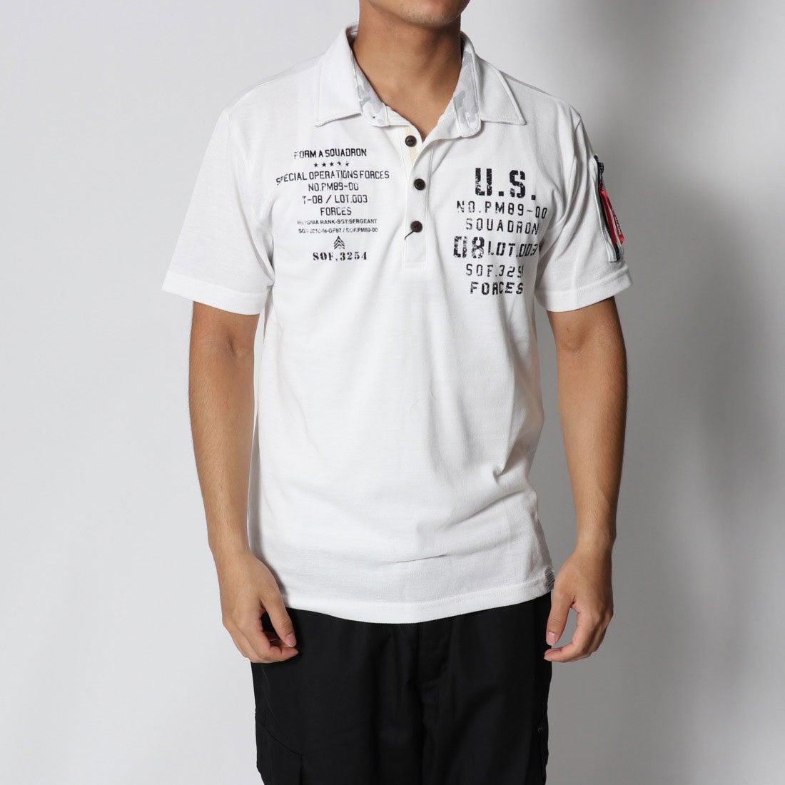 ロコンド 靴とファッションの通販サイトスタイルブロック STYLEBLOCK カノコミリタリープリント&MA-1調ポケット付き半袖ポロシャツ (ホワイト)