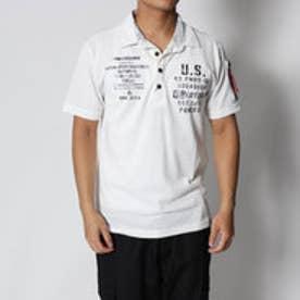 スタイルブロック STYLEBLOCK カノコミリタリープリント&MA-1調ポケット付き半袖ポロシャツ (ホワイト)