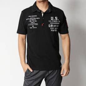 スタイルブロック STYLEBLOCK カノコミリタリープリント&MA-1調ポケット付き半袖ポロシャツ (ブラック)