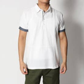 スタイルブロック STYLEBLOCK カノコ異素材ブロック切り替え半袖ポロシャツ (ホワイトB)