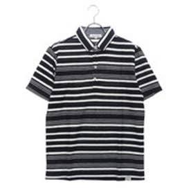 スタイルブロック STYLEBLOCK ジャカードボーダー裏使い半袖ポロシャツ (ネイビー)