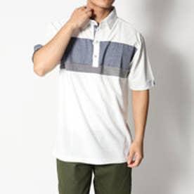 スタイルブロック STYLEBLOCK 梨地異素材ブレスト切替半袖ポロシャツ (ホワイト)