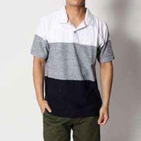 スタイルブロック STYLEBLOCK スラブタック天竺先染めボーダー3段切替半袖ポロシャツ (ホワイト)