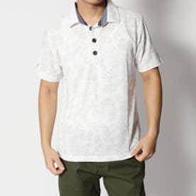 スタイルブロック STYLEBLOCK 梨地単色ボタニカル総柄半袖ポロシャツ (ホワイト)