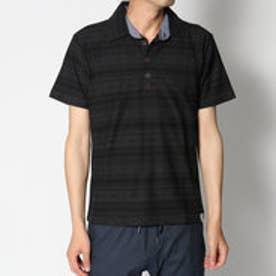 スタイルブロック STYLEBLOCK 梨地エスニックボーダー総柄半袖ポロシャツ (ブラック)