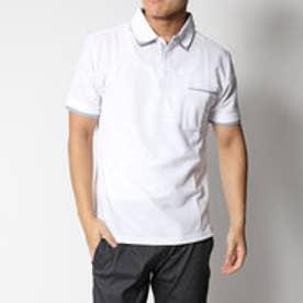 スタイルブロック STYLEBLOCK ストライプ切替え半袖ポロシャツ (ホワイト)