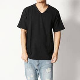 スタイルブロック STYLEBLOCK 吸汗速乾抗菌防臭リップルVネックTシャツ (ブラック)