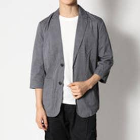 スタイルブロック STYLEBLOCK シャンブレードット使い7分袖テーラードジャケット (ブラック)
