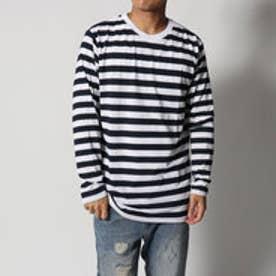 スタイルブロック STYLEBLOCK 消臭加工先染めクルーネックボーダーロンTカットソー長袖Tシャツ (ホワイト×ネイビー)