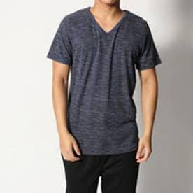 スタイルブロック STYLEBLOCK 引き揃えMIXカラー杢ランダムテレコVネック半袖Tシャツ (ミックスブルー)