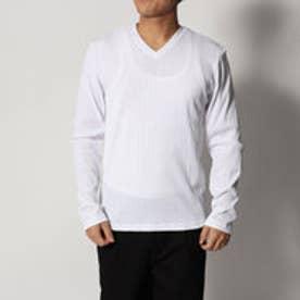 スタイルブロック STYLEBLOCK ランダムテレコVネック長袖Tシャツ (ホワイト)