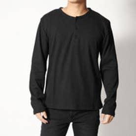 スタイルブロック STYLEBLOCK ワッフルヘンリーネックロンTサーマルカットソー長袖Tシャツ (ブラック)