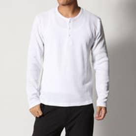 スタイルブロック STYLEBLOCK ワッフルヘンリーネックロンTサーマルカットソー長袖Tシャツ (ホワイト)