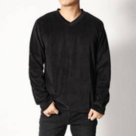 スタイルブロック STYLEBLOCK ベロアVネック長袖Tシャツ (ブラック)