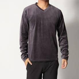 スタイルブロック STYLEBLOCK ベロアVネック長袖Tシャツ (チャコール)