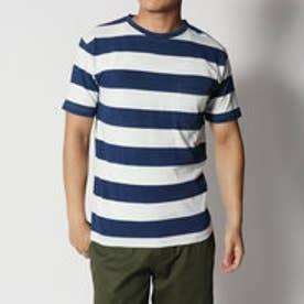 スタイルブロック STYLEBLOCK インディゴ太ボーダークルーネックポケット付半袖Tシャツ (ネイビー)