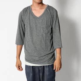 スタイルブロック STYLEBLOCK 7分袖麻混ポケットカットソー×タンクトップアンサンブル (チャコール×オートミール)