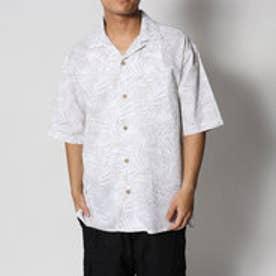 スタイルブロック STYLEBLOCK 麻混スラブリーフ柄プリントオープンカラー半袖シャツ (ホワイト)
