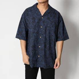 スタイルブロック STYLEBLOCK 麻混スラブリーフ柄プリントオープンカラー半袖シャツ (ネイビー)
