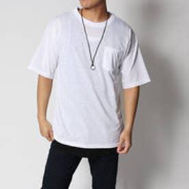 スタイルブロック STYLEBLOCK ネックレス付無地ポケットビッグシルエット半袖Tシャツカットソータンクトップアンサンブル (ホワイト)
