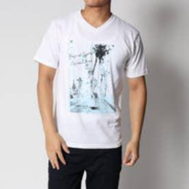 スタイルブロック STYLEBLOCK 綿100%ガールプリントVネック半袖Tシャツカットソー (ホワイト)