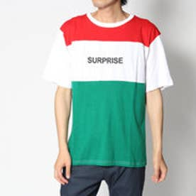 スタイルブロック STYLEBLOCK 綿100%カラー切替ブロッキングロゴプリント半袖Tシャツカットソー (レッド)