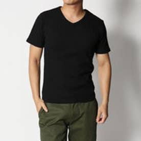 スタイルブロック STYLEBLOCK ワッフルVネックTシャツ (ブラック)